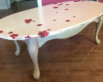 Hand Painted, Refinished, Vintage Coffee Table, Decoupauge Flowers