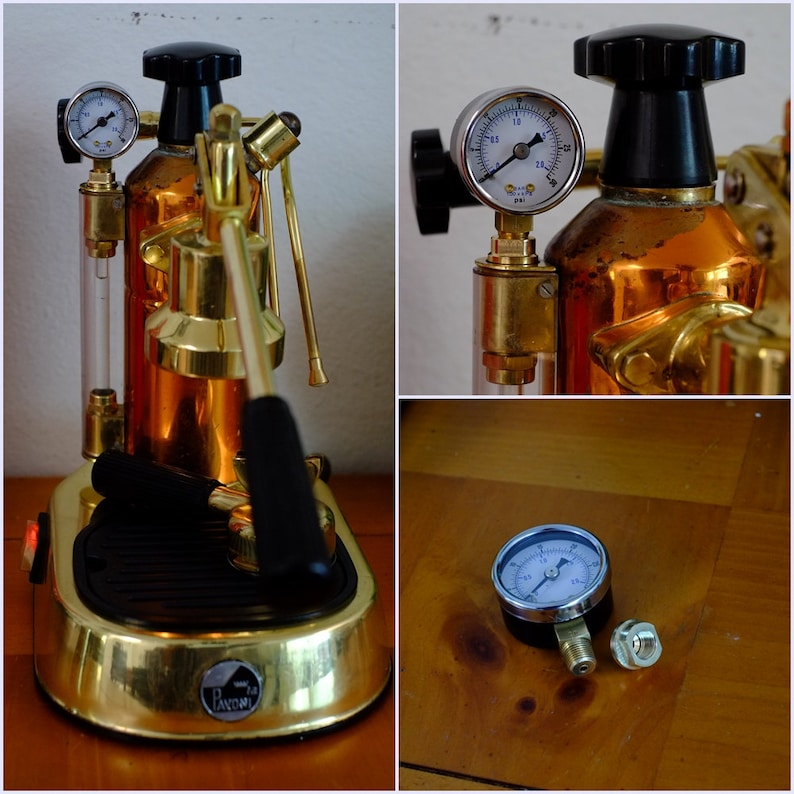 Pressure gauge / adapter set for La pavoni europiccola Brass / stainless