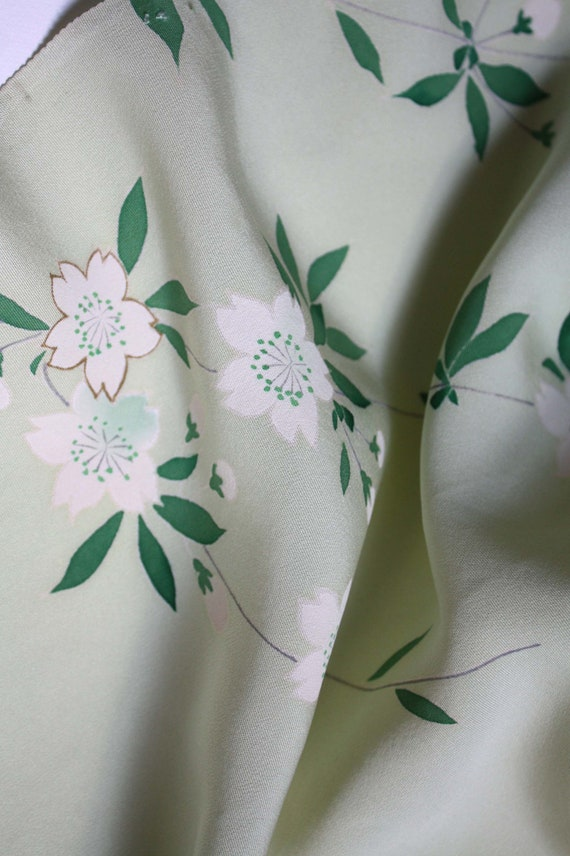Pale green silk with hand painted flowers Vintage kimono silk panel.