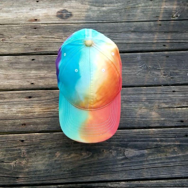c38972b0c74e1 Tie dye hat tie dye Tie dye rainbow hat tie-dye baseball