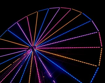 Ferris Lights - Photography - Art Print - Ferris Wheel - Night Lights - Colorful - Heights - Vintage Lights