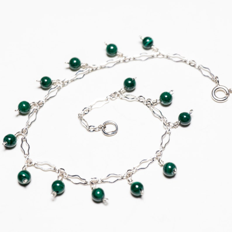 Natural Stone Malachite /& Sterling Silver Charm Bracelet Handmade With US Cast Silver