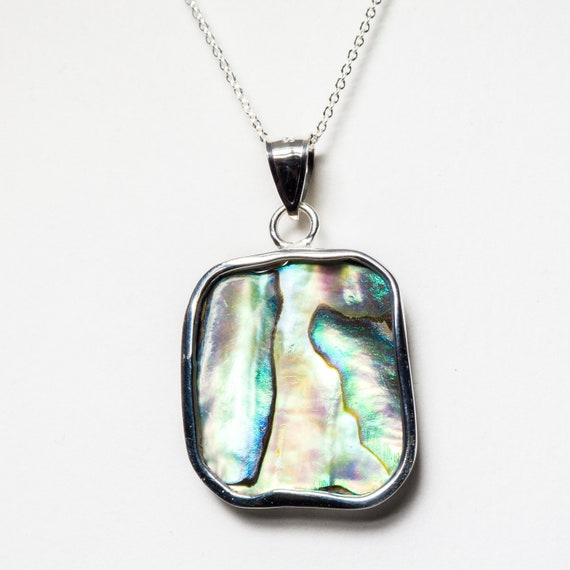 Abalone Natural Shell Chain included Paua Handmade With Tarnish Resistant Argentium Silver Sterling Silver Pendant