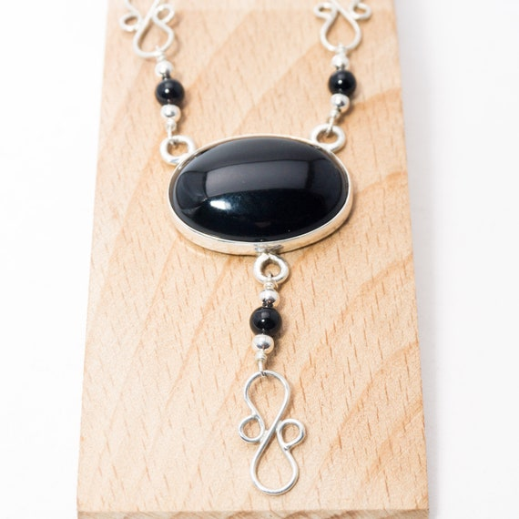 Tarnish Resistant Argentium Silver Black Onyx /& Sterling Silver Y Necklace Natural Stone
