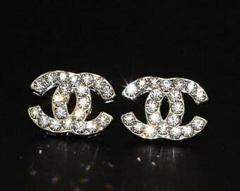 d78b69540 Rhinestone C C earring studs / Designer / Luxury / Inspired / Style 2