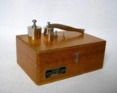 Soviet set of weights, Scale weights, Weights. Scales Weight Set in Box. Apothecary Scale weights, laboratory equipment. Wooden box.