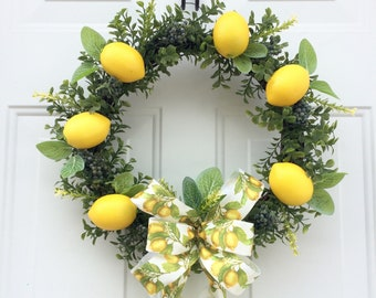 Lemon Wreath, Summer Wreaths, Spring Front Door Wreath, Natural Front Door Wreath