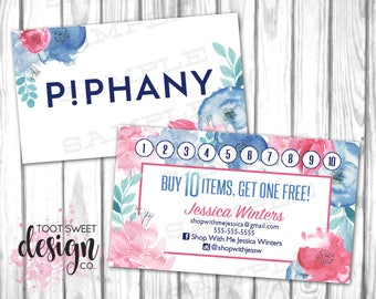 Piphany Custom Business Cards with Stamp Card, Piphany Loyalty Business Card Punch Promotion, Buy 10 Get One Free, Watercolor, PRINTABLE