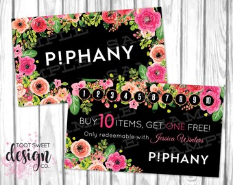 Piphany Custom Business Cards with Stamp Card, Piphany Loyalty Business Card Punch Promotion, Buy 10 Get One Free, Black Floral, PRINTABLE