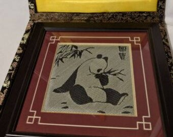 Vintage Japanese Silk and Bamboo Art Panda Picture Wall Hanging Framed In Box
