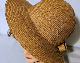 Vintage Straw Sun Boater Hat Made In Italy 879dd73f7908