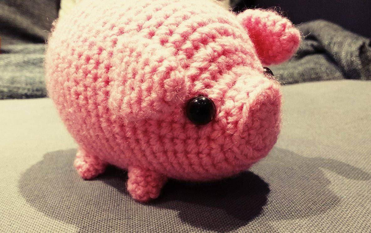 Entzückende Mini gehäkelt Schwein Amigurumi nur 9cm