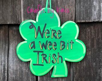 Patrick shamrock luck Irish spring sign welcome gift door hanger decor St Pat/'s drinking team green beer hand-painted hanging wood sign