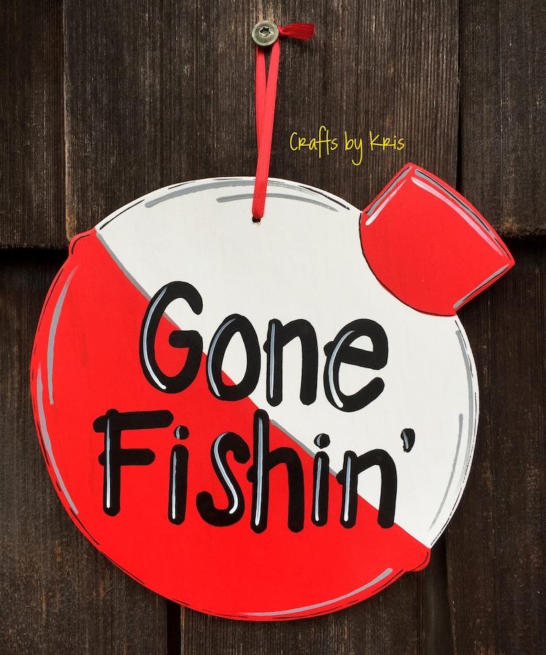 Gone Fishin/' hand-painted hanging wood sign fishing bobber decoration summer fun door hanger