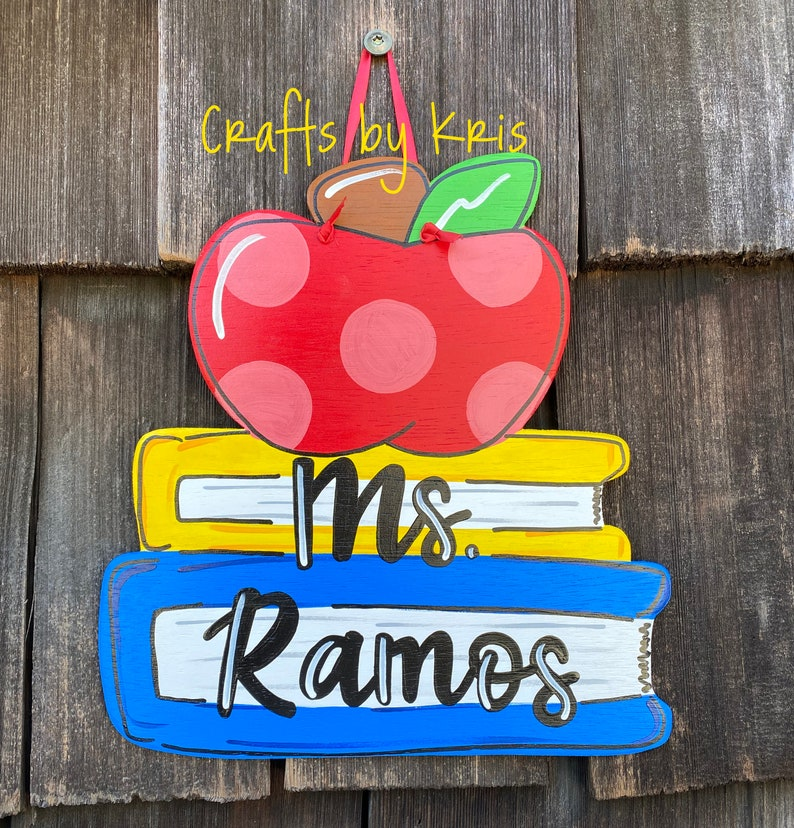 CUSTOM Teacher name apple school books welcome hand-painted image 0