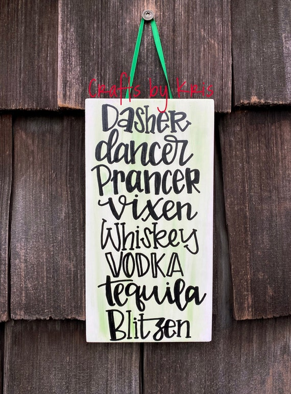 Christmas ReindeerDasher Tequila Dancer Prancer Blitzen Flour sack towelkitchen towelHome Decor Vodka Vixen Moscato