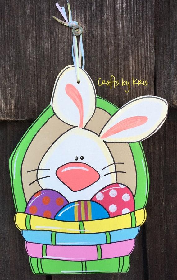 Easter Bunny Basket Hand Painted Hanging Wood Door Hanger Etsy