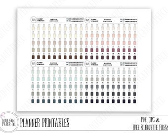 Printable Nail polish planner stickers | Neutral colors | Basics palette | ORIGINAL Hand drawn | nail polish Icons