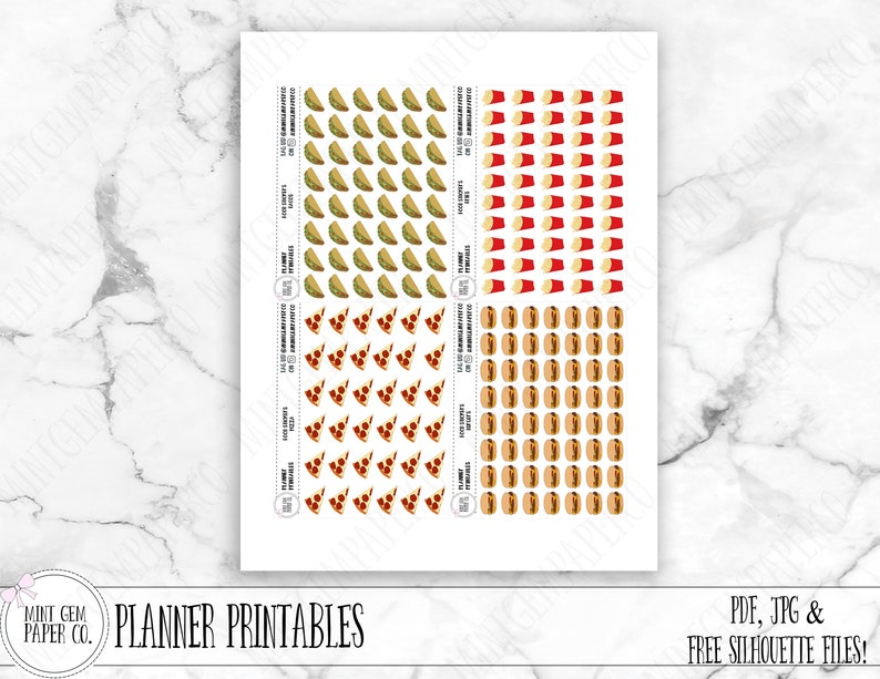 picture regarding Free Printable Food Planner Stickers named Printable Foodstuff planner stickers Immediate Food items Unique Hand drawn artwork  Foods Icons