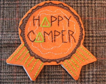 "Hand-embroidered Felt Adult Camping Award Badge Pin ""Happy Camper"""