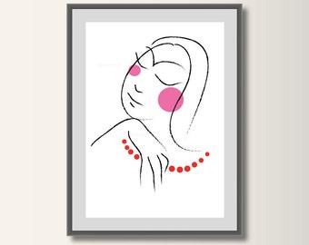 Portrait posters, women's drawing, fashion illustration, fashion art,, minimal print, Pop Art