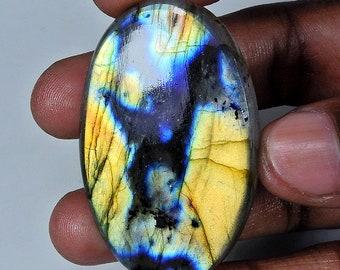 Flashy Labradorite Gemstones Cabs Smooth Gems Loose Stones Semi Precious Cab 1 Piece Natural Labradorite Cabochon 33x54mm Oval Shape