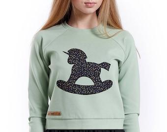 "Sweatshirt with hand appligue ""Rocking unicorn"". Hand Made clothes, Designer sweater, Unicorn lover, Slow Fashion"