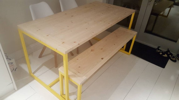 Astounding Contemporary Steel Frame And Pine Table With Benches Made To Order Gmtry Best Dining Table And Chair Ideas Images Gmtryco