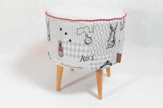 Alice In Wonderland Jacquard Pouf Black And White Footstool | Etsy