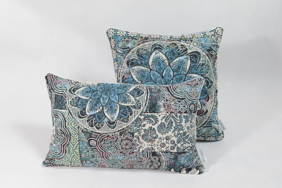 Oriental patterns pillows set, throw pillow sets, decorative pillow sets,  throw pillows for couch, blue pillows, designer pillows sets