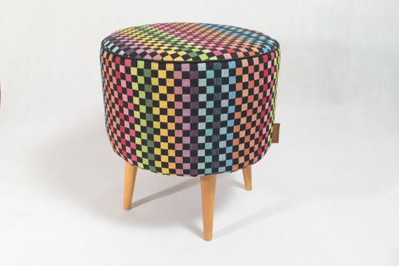 Wondrous Colorful Checkered Pouf Round Pouf Pouf Ottoman Colorful Furniture Modern Pouf Colorful Ottoman Modern Home Decor Modern Furniture Bralicious Painted Fabric Chair Ideas Braliciousco