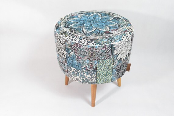 Marvelous Blue And Green Oriental Pattern Pouf Ottoman Pouf Scandinavian Design Round Footstool Design Pouf Upholstery Furniture Round Pouf Cjindustries Chair Design For Home Cjindustriesco