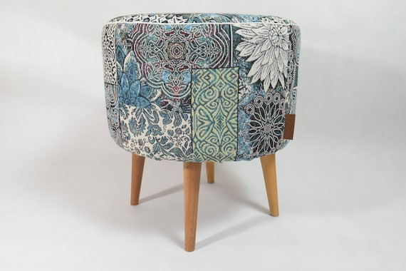 Excellent Blue And Green Oriental Pattern Pouf Ottoman Pouf Scandinavian Design Round Footstool Design Pouf Upholstery Furniture Round Pouf Cjindustries Chair Design For Home Cjindustriesco
