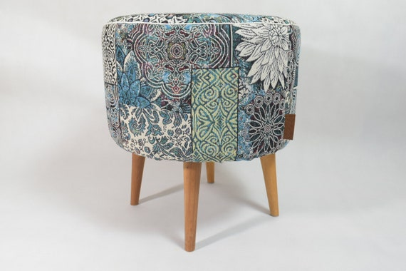Phenomenal Blue And Green Oriental Pattern Pouf Ottoman Pouf Scandinavian Design Round Footstool Design Pouf Upholstery Furniture Round Pouf Lamtechconsult Wood Chair Design Ideas Lamtechconsultcom