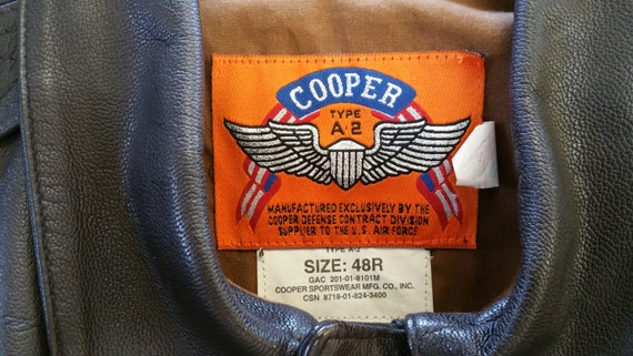 Rare Vintage Cooper A2 Flying Tiger Leather Jacket Authorized