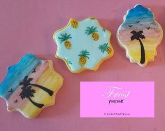 Decorated Iced Cookies Tropical Island Sunset Pineapples Sugar Summer~1 Dozen~Frost Yourself Cookies