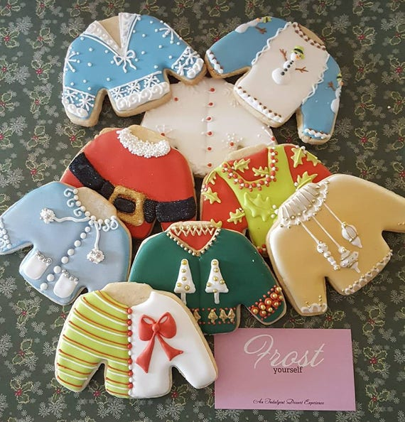 Christmas Cookies Ugly Christmas Sweaters Decorated Iced 1 Dozen Frost Yourself Cookies