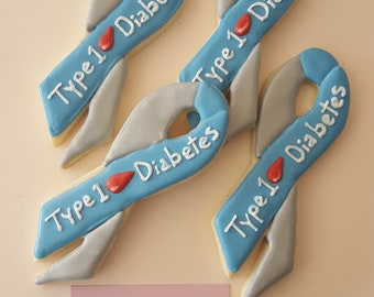 Awareness Ribbons Cookies Can be Customized to any Cause ~1 Dozen~Frost Yourself Cookies