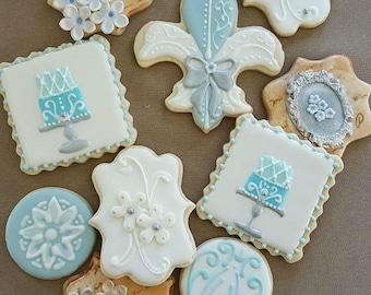 Decorated French Iced Cookies Paris Blue Fleur de Lis Sugar Your Choice~1 Dozen~Frost Yourself Cookies