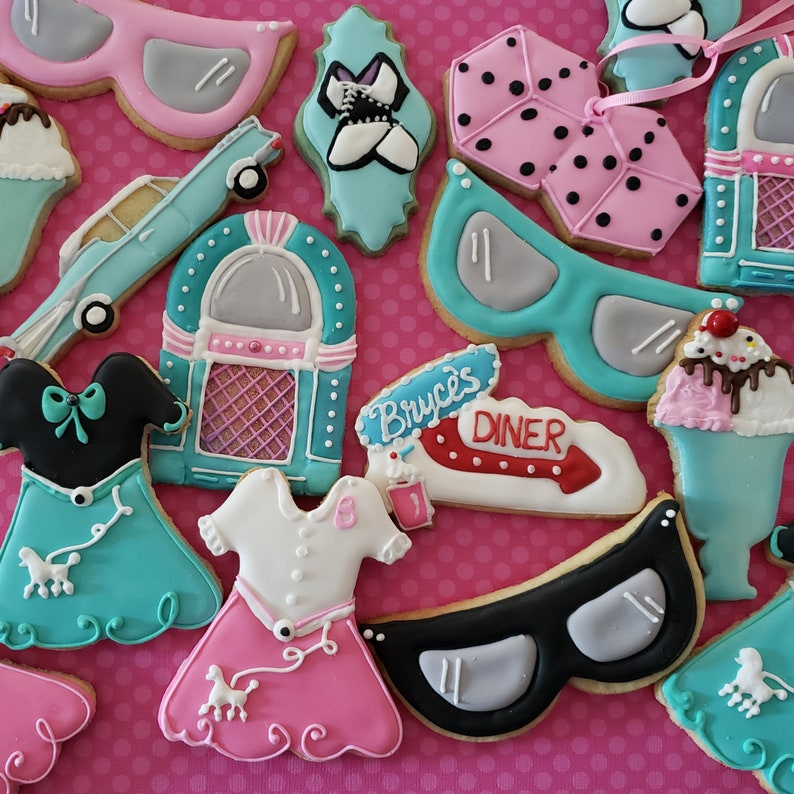 Decorated Iced Cookies 50s Theme Birthday Party From