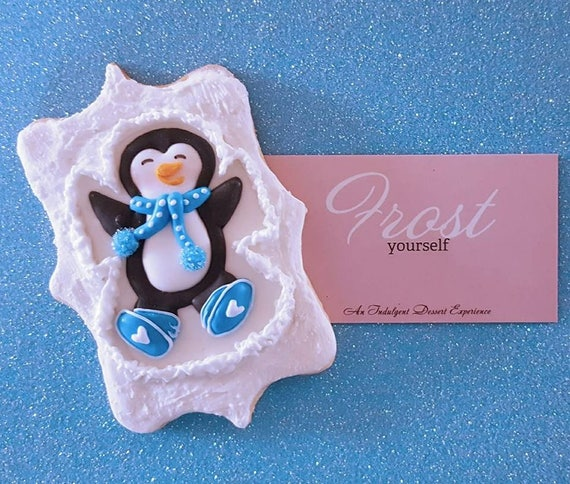 Christmas Cookies Decorated Penguin Gift Sugar Cookies 1 Dozen Preorder From Frost Yourself Cookies Today