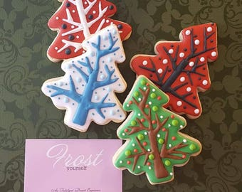 Christmas Cookies Modern Christmas Tree Decorated Iced ~1 Dozen~Frost Yourself Cookies