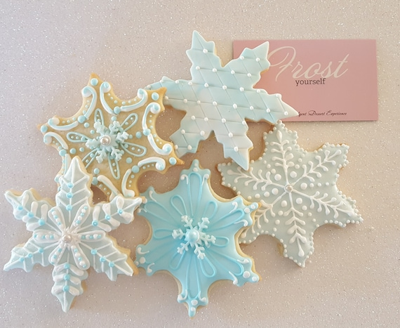 Decorated Christmas Cookies Snowflakes Blues And Silver 1 Dozen By Frost Yourself Cookies