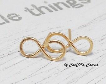 Infinity Stud earrings, Goldfilled