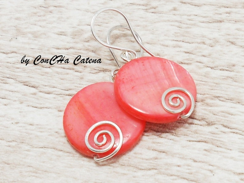 Earrings Salmon-pink mother of pearl slices 925 silver
