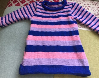 Hand knitted girls dress age 1 year