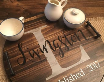 Custom last name wooden serving tray