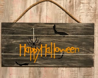 Happy Halloween slatted wood sign