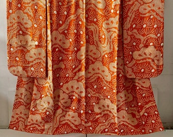 Vintage Kimono, Furisode, Silk robe,orange,  総絞り, Shibori Dyeing, Batik, Top condition