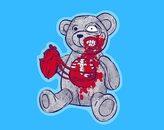 Teddy bear stickers - Creepy cute transparent sticker- Scary monsters notebook decal- Zombie bombing laptop decals- Gifts for geeky students